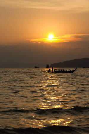 southern of thailand: Sun set at Andaman sea in Southern Thailand Stock Photo