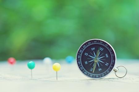Compass with smooth blur green garden background, journey concept