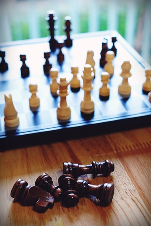 Chess board game, business competitive concept, difficult position to compete