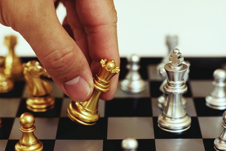 Chess board game, business competitive concept, encounter situation, losing and winning, copy space Stockfoto