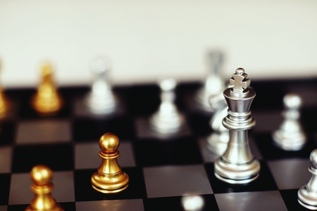 Chess board game, business competitive concept, encounter situation, losing and winning, copy space Imagens