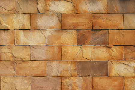 Brown limestone brick wall texture background, copy space