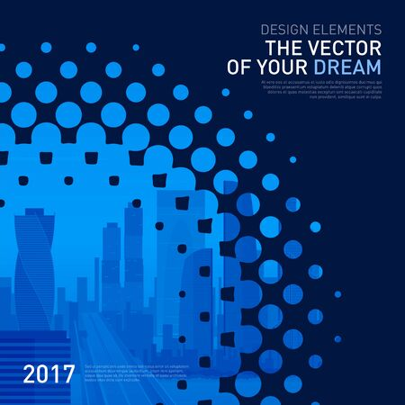 Design element for corporate graphic layout. Modern abstract geometry background template design whith colored cityscape vector illustration for investment, business, real estate, construction. Ilustracja