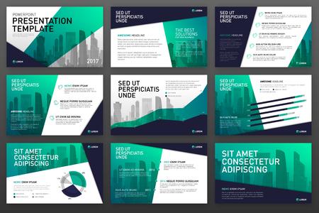 Plantillas de presentación de negocios con elementos de infografía. Se utiliza para el diseño de ppt, fondo de presentación, diseño de folleto, control deslizante del sitio web, informe corporativo.