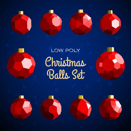 Low poly marry christmas balls set based on archimedian polyhedrons. Good for happy new year modern vector illustration, design concept, greeting card or poster.