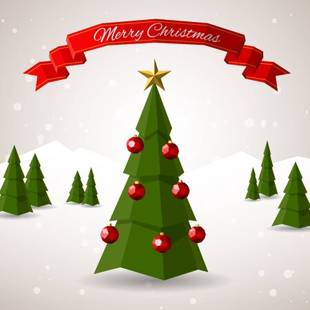 Low poly merry christmas tree vector illustration. Happy new year greeting card or flyer concept illustration.