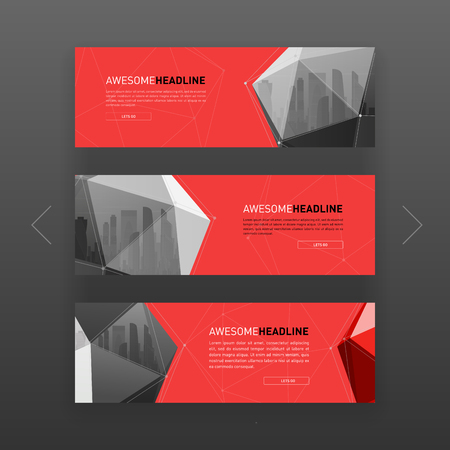 3d lowpoly solid abstract corporate banner or web slideshow template. Horizontal advertising business banner or website slider layout templates set for investment, construction, technology.