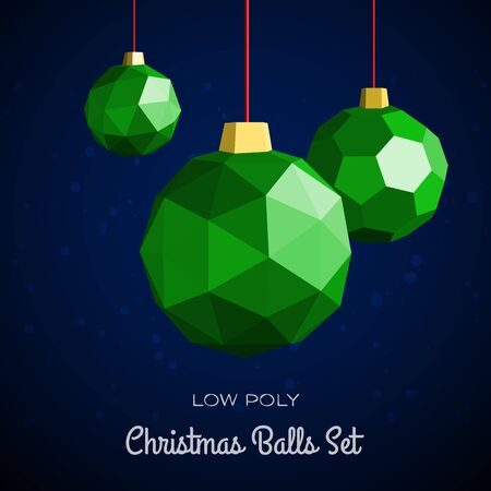 Low poly merry christmas balls vector illustration. Happy new year greeting card or flyer concept illustration.