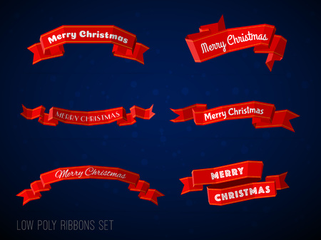 Low poly marry christmas red ribbons collection. Modern 3d low polygonal flat style ribbons set. Illustration