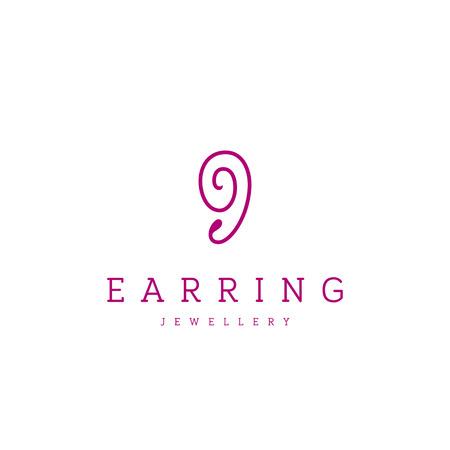 Jewellery company . Modern earring jewelry icon.