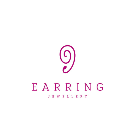 Jewellery company . Modern earring jewelry icon.