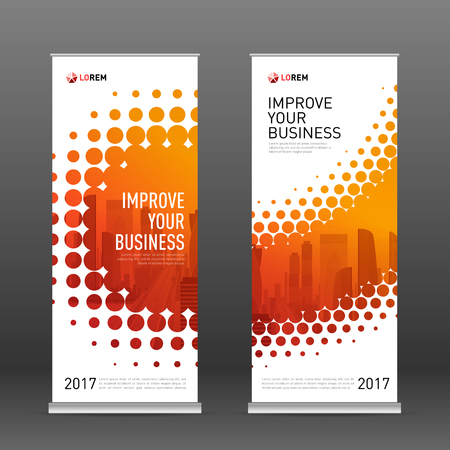 Industrial roll up banner design template. Abstract halftone effect with colored cityscape vector illustration on background. Vetores