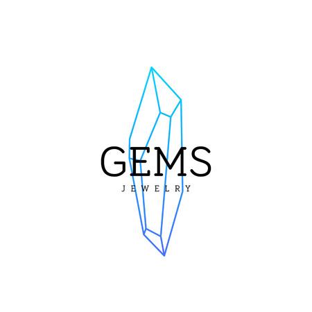 Jewellery company . Corporate identity element. Crystal icon.