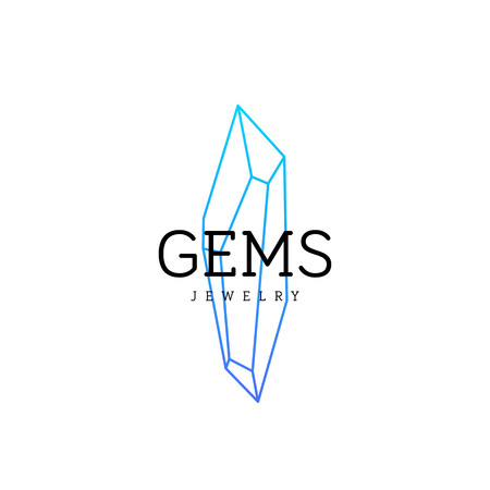 Jewellery company . Corporate identity element. Crystal icon.