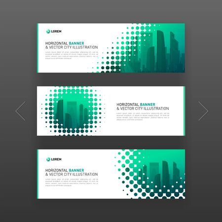 Abstract corporate horizontal banner or web slideshow template with city vector background and halftone effect for business, investment and construction.