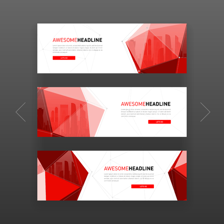 3d low poly solid abstract corporate banner or web slideshow template. Horizontal advertising business banner or website slider layout templates set for investment, construction, technology. Ilustrace