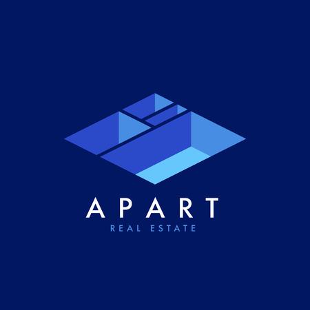 기업의 정체성을위한 부동산 벡터 로고 디자인 템플릿. 아파트 아이소 메트릭 계획 아이콘 템플릿 leayout입니다.