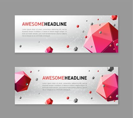 3d lowpoly abstract banner template Illustration