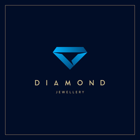 Jewelery company logo. Jewelry icon. Ribbon folded to diamond shape vector illustration