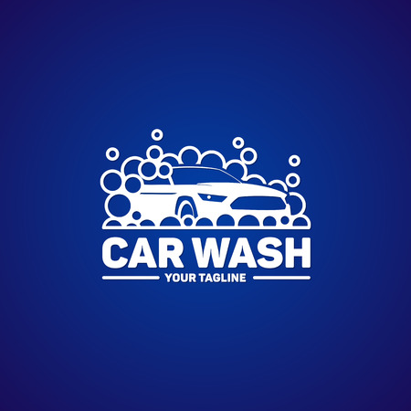 Car wash  logo template. Auto washing service logotype design. Vector illustration.