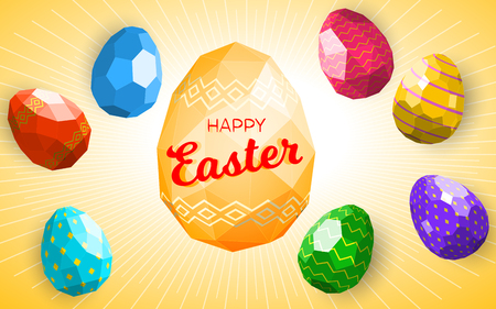 Happy easter greeting card or banner template with modern low polygonal eggs. Good for flyer, postcard, banner, leaflet.