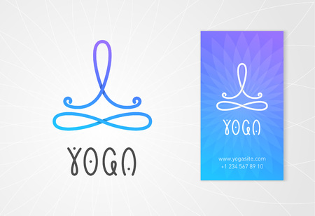 Yoga logo design template with abstract man in lotus pose above the infinity sign. Modern colorful style business identity element. Çizim