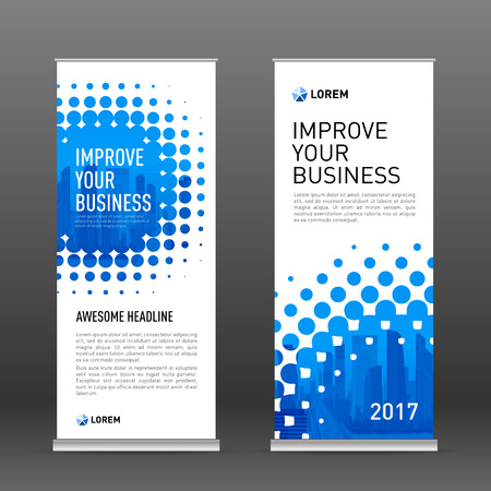 Industrial roll up banner design template. Abstract halftone effect with colored cityscape vector illustration on background.