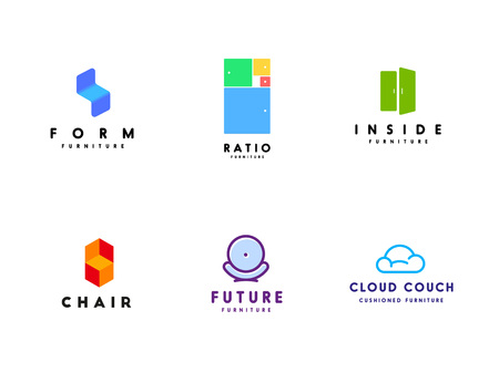 Fresh logo templates set for furniture business. Illustration