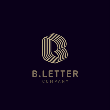 Letter B vector logo design template for corporate identity. Decorative letter B icon template layout