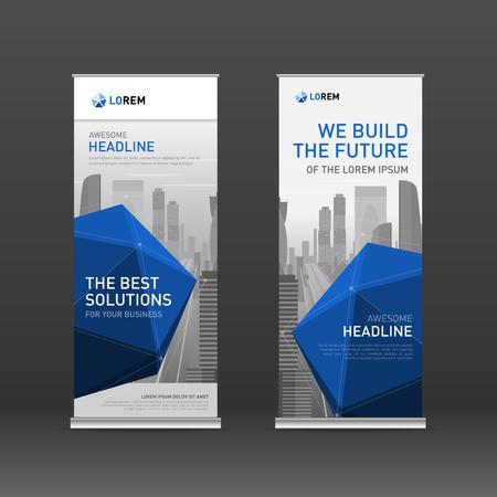 Roll up banner design layout. Vertical banner design template. Illustration