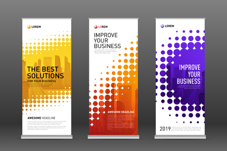 Construction roll up banners design templates set. Vertical banner for event with skyscrapers vector illustration on background.