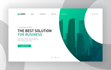 Landing page template for business. Modern web page design concept layout for website. Vector illustration. 向量圖像