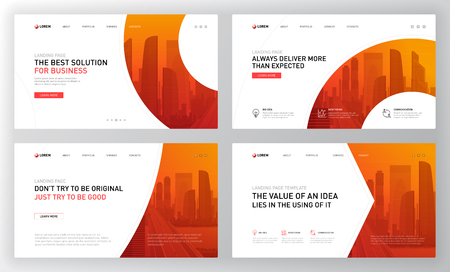 Landing pages templates set for business. Modern web page design concept layout for website. Vector illustration. Vector Illustration