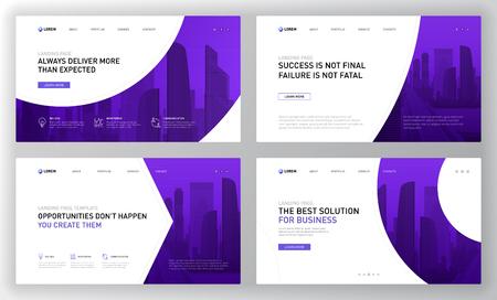 Plantilla de página de destino para empresas. Diseño de concepto de diseño de página web moderna para sitio web. Ilustración de vector. Ilustración de vector
