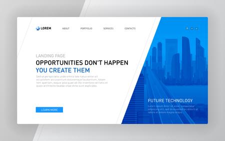 Plantilla de página de destino para empresas. Diseño de concepto de diseño de página web moderna para sitio web. Ilustración de vector.