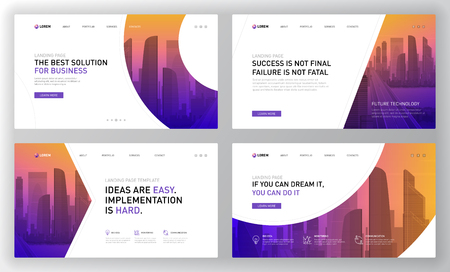 Landing pages templates set for business. Modern web page design concept layout for website. Vector illustration.