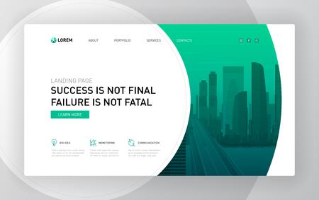 Landing page template for business. Modern web page design concept layout for website. Vector illustration. Ilustración de vector