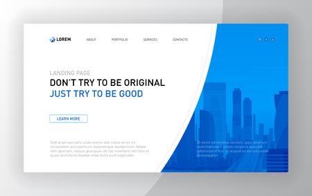 Landing page template for business. Modern web page design concept layout for website. Vector illustration. Illustration