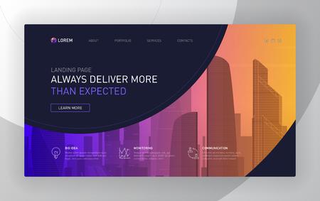Landing pages templates set for business. Modern web page design concept layout for website. Vector illustration. Brochure cover, banner, slide show. Ilustración de vector