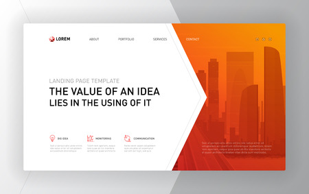 Landing pages templates set for business. Modern web page design concept layout for website. Vector illustration. Brochure cover, banner, slide show. 向量圖像