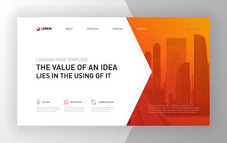Plantillas de páginas de destino para empresas. Diseño de concepto de diseño de página web moderna para sitio web. Ilustración de vector. Portada de folleto, banner, presentación de diapositivas.