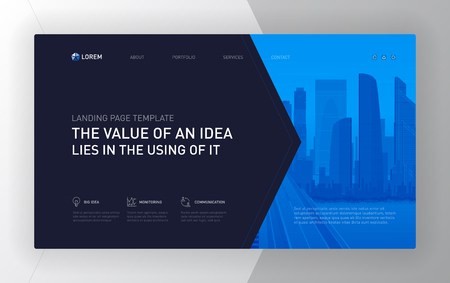 Landing page template for business. Modern web page design concept layout for website. Vector illustration. Vectores