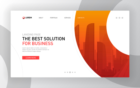Landing pages templates set for business. Modern web page design concept layout for website. Vector illustration. Brochure cover, banner, slide show.