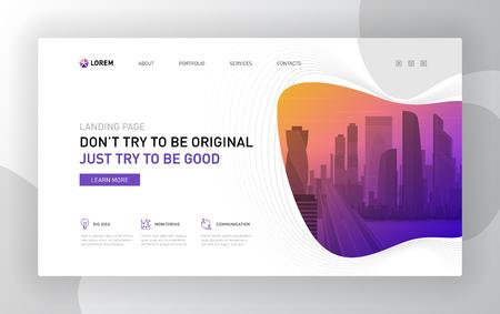 Landing page template for business. Modern web page design concept layout for website. Vector illustration. Brochure cover, banner, slide.