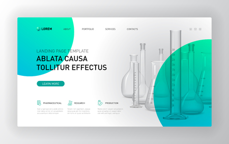 Plantilla de página de destino farmacéutica. Diseño de concepto de diseño de página web moderna para sitio web. Ilustración vectorial. Portada del folleto, banner web, diapositiva del sitio web.
