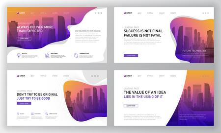 Landingpage-Vorlagen für die Unternehmenswebsite. Modernes Webseiten-Design-Konzept-Layout für die Website. Vektor-Illustration. Broschürencover, Banner, Folie.