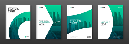 Brochure cover design layout set for business and construction. Abstract geometry whith colored cityscape vector illustration on background. Good for annual report, magazine, flyer, leaflet, poster. Foto de archivo - 123220979