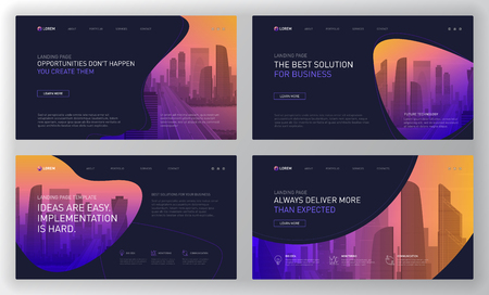 Landing page templates set for business website. Modern web page design concept layout for website. Vector illustration. Brochure cover, banner, slide.