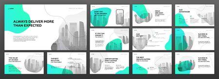 Conjunto de plantillas de presentación de negocios. Se utiliza para presentaciones modernas de fondo, diseño de folletos, control deslizante del sitio web, página de destino, informe anual, perfil de la empresa. Ilustración de vector