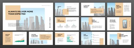 Modern minimalistic presentation templates set for business with cityscape vector illustration on background Vetores